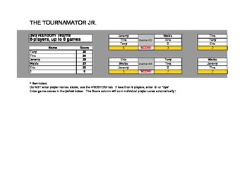 """The Tournamator Jr."" ; Organizes and scores class games & tournaments"
