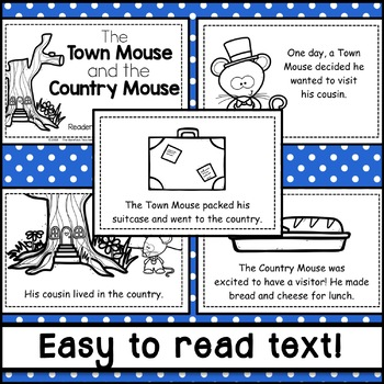 The Town (City) Mouse & the Country Mouse Fable Emergent Reader
