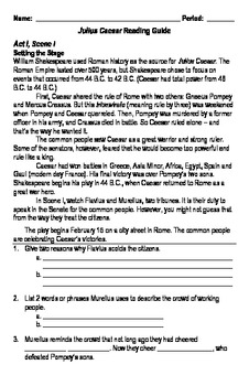The Tragedy of Julius Caesar Reading Guide & Activity Packet