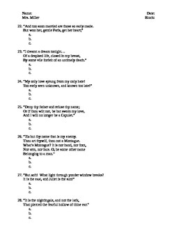 The Tragedy of Romeo & Juliet Test - Honors English