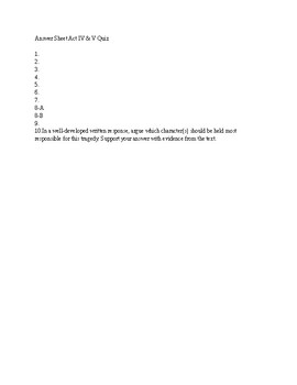 The Tragedy of Romeo and Juliet Act IV & V Quiz