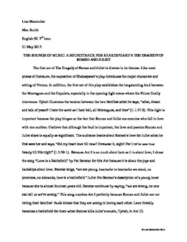 The Tragedy of Romeo and Juliet Soundtrack Paper