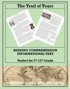 The Trail of Tears--Informational Text Worksheet