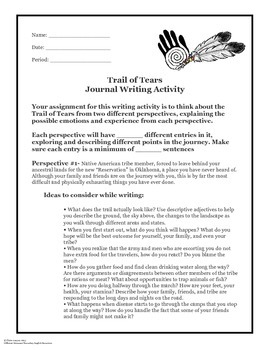 The Trail of Tears Informational Article and Narrative Writing Activity
