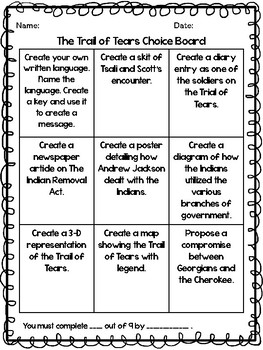 The Trail of Tears Reading Comprehension Passages and Choice Board
