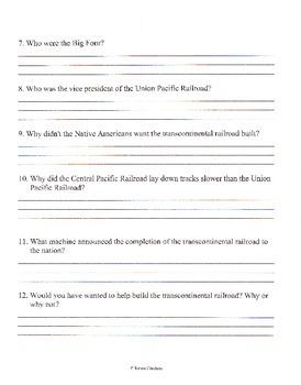 The Transcontinental Railroad Book Comprehension Questions