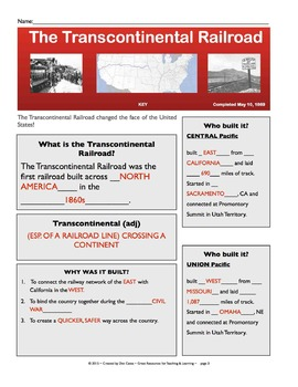 The Transcontinental Railroad: SmartBoard & Student Sheet Activity Pack: Gr. 4-6
