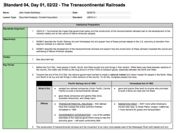 The Transcontinental Railroads (LP + Docs + PPT)