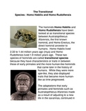 The Transitional Species: Homo Habilis and Homo Rudolfensis