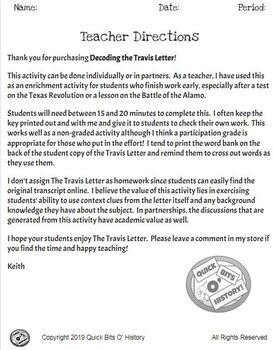 The Travis Letter