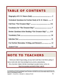 The Treasure Ship: Study Guide for Saki's Story (Full Text, 13 P., Ans. Key, $4)
