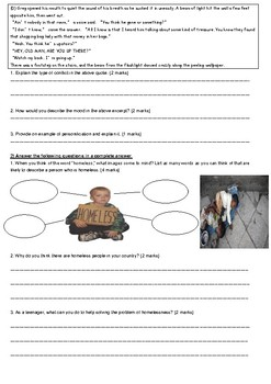 The Treasure of Lemon Brown -Assessment/Worksheet
