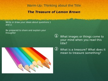 The Treasure of Lemon Brown Short Story Lesson on Theme