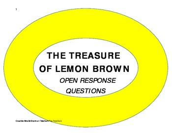 The Treasure of Lemon Brown  - Comprehension Questions and Answer Key