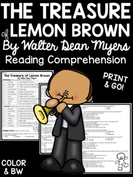 The Treasure of Lemon Brown reading comprehension questions realistic fiction
