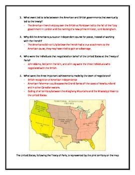 The Treaty of Paris- Webquest with Key