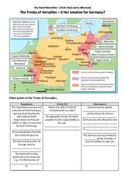 The Treaty of Versailles - A Fair Solution for Germany?