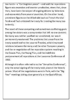 The Treaty of Versailles Handout