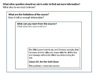 The Treaty of Versailles War Guilt Clause Source Analysis Activity