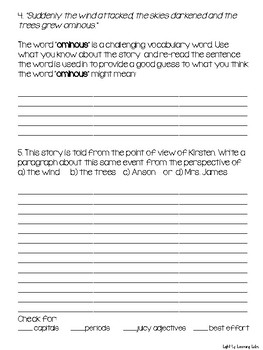 The Trees: Reading Comprehension & Writing Activity for Upper Elementary