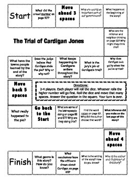 """The Trial of Cardigan Jones"" Comprehension Game Board- Journeys story 3rd grade"