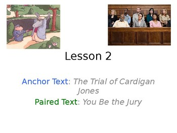The Trial of Cardigan Jones PowerPoint with Weekly Activities for Journeys 3rd