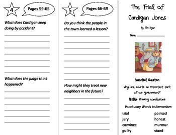 The Trial of Cardigan Jones Trifold - Journeys 3rd Gr Unit