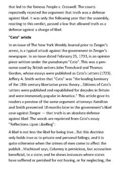 The Trial of John Peter Zenger Handout