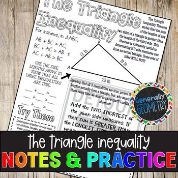 The Triangle Inequality Doodle Notes & Practice Worksheet; Geometry, Range