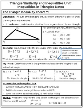 The Triangle Inequality Theorem and Inequalities in Triangles