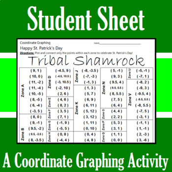 St. Patrick's Day - Tribal Shamrock - A Coordinate Graphing Activity