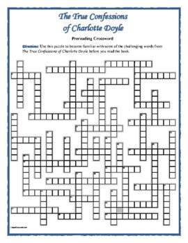 The True Confessions of Charlotte Doyle—50-word Prereading Crossword—Unique!