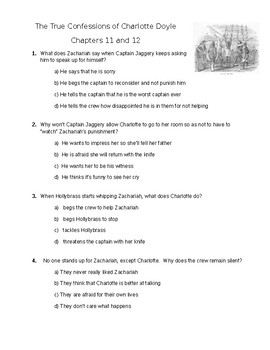The True Confessions of Charlotte Doyle - Quiz on ch. 11-12