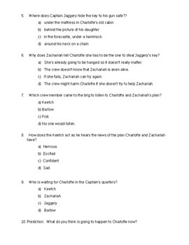 The True Confessions of Charlotte Doyle - Quiz on ch. 19-20