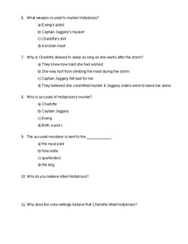 The True Confessions of Charlotte Doyle - Quiz on ch. 17-18