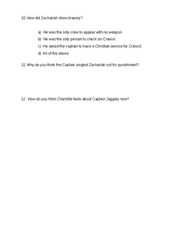 The True Confessions of Charlotte Doyle - Quiz on ch. 9-10