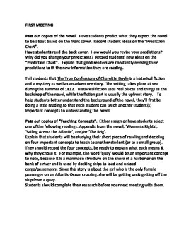 The True Confessions of Charlotte Doyle guided reading plan