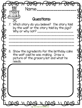 The True Story of the 3 Little Pigs Comprehension Questions