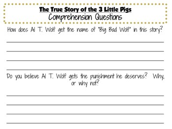 The True Story of the 3 Little Pigs: by Jon Scieszka:  A Literature Study!