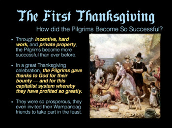 First Thanksgiving Slideshow / The True Story of the Brave Pilgrims / Powerpoint