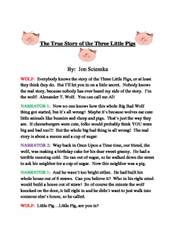 The True Story of the Three Little Pigs, Reader's Theater
