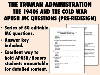 The Truman Administration - 50 Old Style APUSH MC Questions (Pre-Redesign)