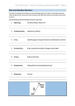 The Truman Show Teacher Text Guide & Worksheets