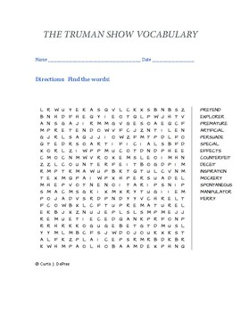 The Truman Show Vocabulary WORD SEARCH