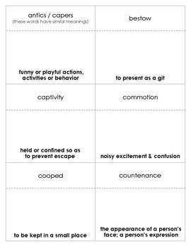 The Trumpet of the Swans Vocabulary Bingo