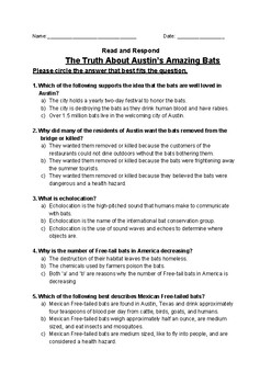 The Truth About Austin's Amazing Bats - Read and Respond Reading Street 5.2