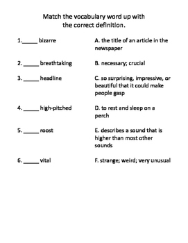 The Truth About Austin's Amazing Bats Vocabulary Test and Vocabulary Dominoes