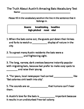 The Truth About Austin's Amazing Bats Vocabulary Test and