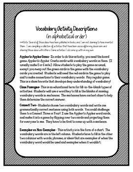 The Truth About Austin's Amazing Bats Vocabulary Games & Activities Unit 6
