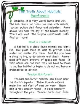 The Truth About Habitats: Rainforests!  Nonfiction Article, Paragraph Writing